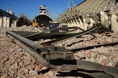 "Demolition job ""Potash"" warehouses DST_5439 (larry_antwerp) Tags: euroports potas magazijn warehouse demolition afbraak antwerp antwerpen       port        belgium belgi          aertssen caterpillar excavator"