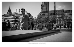 Cologne People & Visitors (01) (MvMiddendorf) Tags: summer cologne cathedral 2016 tourists hot heat bw locals man