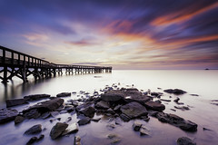 run to the sun (dK.i photography) Tags: pinehurst downspark pasadena maryland chesapeakebay pier structure outddors sunrise dawn sky atmosphere longexposure landscape waterscape smooth morning light luminosity sliderssunday hss neutraldensity filter littlestopper singhrayrgnd