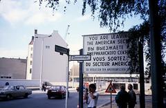 Berlin21-ChckpntCharlie-LeavingAlliedSector-Sep85 (ArgyleMJH) Tags: berlin 1985 berlinwall gdr ddr americasector zimmerstrasse friedrichstrasse checkpointcharlie germany coldwar berlinermauer derkaltekrieg