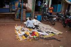In the business of ropes (Scalino) Tags: india karnataka travel trip badami durga temple fromtherickshaw streetphotography street surprise unposed onspot passingby seller ropes
