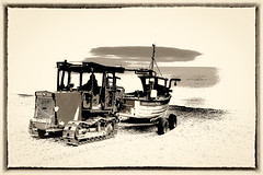 Off to work... (AJFpicturestore) Tags: weybournehope norfolk monochrome blackwhite sepia hss sliderssunday alanfoster boat shingle fisherman launch tractor push offtowork