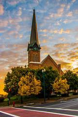 Worship Under The Morning Sky (Catskills Photography) Tags: odc pointy church building architecture sky clouds sunrise fall autumn city urban cityscape canons95 steeple streetphotography he