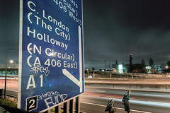 Welcome to London (Sean Hartwell Photography) Tags: m1 motorway motion london roadmarkings roadsign junction2 traffic urban city road freeway trails graffiti grit grime gritty