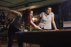Em & Juliana (lordgogurt) Tags: people person face portrait figure being body life girl gal female lady woman indoor indoors pool hall poolhall girls women ladies females group couple hair dye color