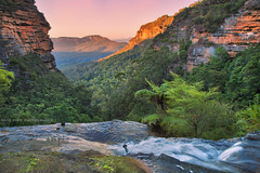 The Drop Off || JAMISON VALLEY || BLUE MOUNTAINS (rhyspope) Tags: australia aussie nsw new south wales canon 5d mkii leura blue mountains creek stream waterfall water valley jamison sunrise golden cliffs nature rhys pope rhyspope ferns green tree forest woods view vista cliff