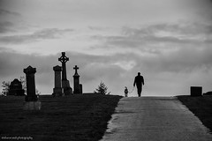 for those who weep (bluechameleon) Tags: sharonwish autumn blackandwhite bluechameleon bluechameleonphotography bw cemetery clouds dog headstones man mountainviewcemetery silhouette vancouver sky monochrome melancholic leonardcohen artlibre