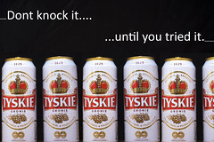 Dont knock it... (87of365) (Reckless Times) Tags: cans can polish lager beer pivo tyskie with black background mutiple text dont knock it until you tried try poland uk piwo cold nice refreshing nikon comercial commercial 365 project d750