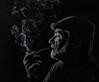 lost in thought (marianna_a.) Tags: pipe smoke smoker man portrait desaturated monochromatic blackwhite blackwhitephotos blackandwhite senior profile face hand dark mariannaarmata p3030890 pensive thought