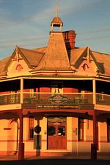 Time For A Drink (Darren Schiller) Tags: wellington hotel facade pub newsouthwales australia smalltown evening sunset verandah spire door