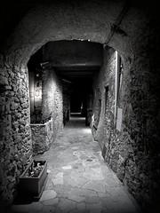 Tosse by night (fotomie2009) Tags: tosse village borgo liguria italy italia ponente ligure medioevale middle ages medievale arco arch pietre stones casedipietra monocromo monochrome bn bw monotone