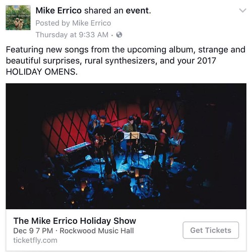 Sharing is caring. Ticket link is in my bio.    #guitar #mikeerrico #show @rockwoodmusichall #nyc #holiday #december9 #rockwoodmusichall