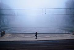tightrope (ewitsoe) Tags: nikon fog foggy mist woman walking cold park poznan poland europe ewitsoe nikond80 35mm street city lady girl densefog weather winter pool trees