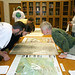 Karen Cook works with a geography class at Spencer Research Library