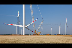 Repower MM92 erection at windfarm Glinzendorf, Austria (Rockenbauer K.) Tags: repower mm92 2 mw mega watt two zwei glinzendorf austria marchfeld lower nieder sterreich prangl terex demag tc 2800 lattice gitter boom mast ausleger liftig heben bauen errichten baustelle building site evn techician engineer tower turm rotor flgel wing blade blatt nacelle gondel maschinenhaus warningstripes warnmarkierung himmel sky electricity elektrizitt strom power energy eolienne energie wind windfarm windmill windenergy windenergie windmhle windrad windpark renewable erneuerbar windkraft windpower weizen wheat getreide grain crane kran