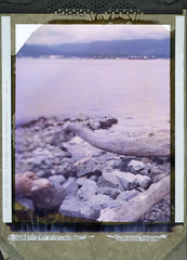 Driftwood (wetondry) Tags: sea sky colour vancouver spring rocks ship 4x5 expired largeformat 79 graflex speedgraphic