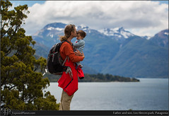 Father and son, Los Alerces park, Patagonia (exposedplanet) Tags: family flowers patagonia baby love smile happy father son lupins lupines