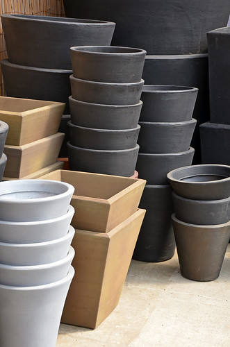 Stacks of garden planters