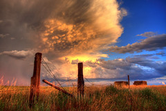 Fenceposts (northernplainsphotography) Tags: sunset cloud clouds fence thunderstorm wyoming mammatus ringofexcellence tripleringofexcellence dblringofexcellence