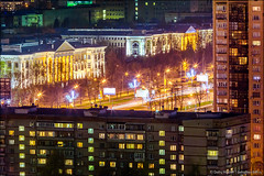 Moscow city landscape (Dmitry Mordolff) Tags: lighting street old travel windows sunset summer house motion beautiful architecture night buildings outdoors lights construction downtown cityscape exterior view place russia dusk moscow district cities blurred center scene structure illuminated glowing tall residential built scenics locations