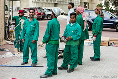 (Dubai Jeffrey) Tags: men green workmen helmet rope gloves coverall laborers sheikhzayedroad streetsceneman