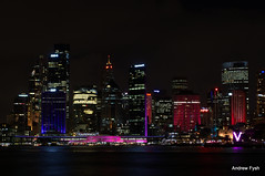 Vivid Sydney (Andrew from Sydney) Tags: city longexposure pink blue light red sky black water festival night lights nikon long exposure 10 sydney vivid australia v nsw newsouthwales f8 sydneyharbour seconds centrepoint d3100 nikond3100