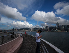 Oh Those Clouds (Photo Amy) Tags: china blue sky cloud white water clouds hongkong wideangle kowloon canoneos50d ef1022mmf3545 viewofhongkongsidefromkowloon neartheclocktower