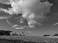 Cloudscape over Pouls Kirke (fixedfocallength) Tags: clouds landscape lumix blackwhite panasonic bornholm m43 gf1 mft microfourthirds panasoniclumix14mm125