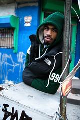 . (Kirk Smith.) Tags: street blue portrait green canon graffiti smith smoking hoody philly vest hip hop kirk