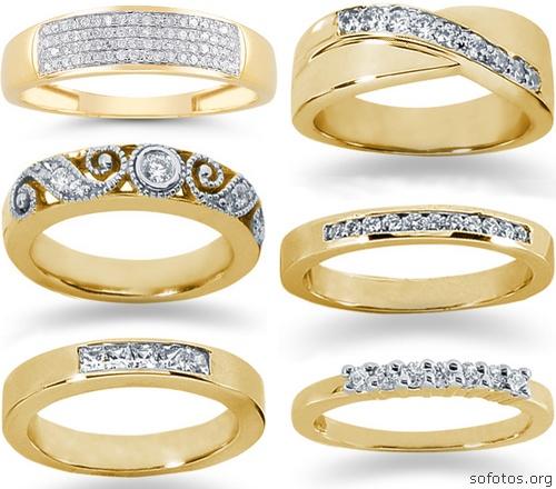 Alianças de casamento de ouro com pedras