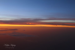 Crack of light, Sunrise (Nabiha Hajaig) Tags: africa above green clouds plane sunrise photography nigeria rays kano canon7d