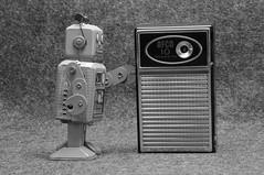 Robot and Monolith (New Paltz Camera Company) Tags: robot transistor radio bob esposito nikon d90 black white monochrome