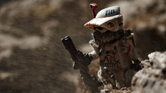 Lost (Kyle Hardisty) Tags: kyle hardisty lego photography 2016 macro custom lighting depth field canon rebel sl1 lens minifigure mini fig brickarms brick arms dirt california twigs rock rocks star wars stormtrooper may 4th outdoor airborne 501st trooper clone arf arc commander captain rex