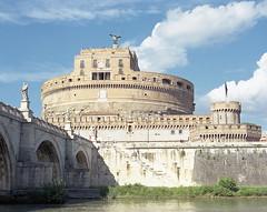 Rome (sinkalyagas) Tags: travel fall autumn rome italy mediumformat film kodak ektar mamiya rz67 castle river sky clouds