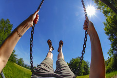 Sunny Swing (C_MC_FL) Tags: person woman personalperspective pov pointofview sunny sun sunflare sunstar summer warm swing legs arms sky hayfield nature outside canon eos 60d sigma 10mm fisheye wideangle blue green fun frau blickwinkel sonnig sonne sommer sonnenstern blendenfleck schaukel schaukeln spas arme beine himmel wiese natur imfreien fischauge weitwinkel blau grn fotografie photography austria sterreich bisamberg