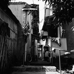 Into the Alley (Purple Field) Tags: rolleiflex t tlr carl zeiss tessar 75mm f35 ilford delta iso400 bw monochrome film analog 6x6 120 medium square yogykarta indonesia street alley walking bicycle slope                      canoscan8800f stphotographia