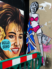 Hello Soho (stevedexteruk) Tags: hello soho endless artist street art polandstreet london uk 2016 billboard graffiti poster theresa may bikini unionjack flag