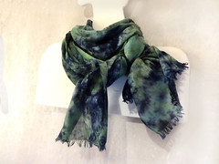 "Large cotton shibori scarf ""In the depth"" (arireven) Tags: scarf cotton shibori handdyed blue green shawl wrap stole long"