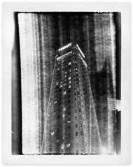Foshay Tower (Happy Accident) (tubes.) Tags: polaroid polaroidweek fujifilm fp3000b instant film blackandwhite minneapolis minnesota