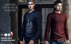 NEW RELEASE! ASHTON CREW NECK SWEATER @ TMD NOVEMBER (coldashsl) Tags: sl menswear mens mesh clothing fashion male shop coldash cold ash tmd department project themeshproject slink physique signature gianni fittedmesh fitmesh sweater