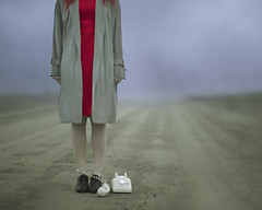 Land Line (Patty Maher) Tags: telephone fog road conceptualphotography surrealphotography reddress fineartphotography