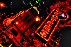 Hard Rock Cafe Atlanta (Matthias Harbers) Tags: peachtreestreet downtown atlanta georgia usa unitedstates building architecture reflection glass sky evening blue nikon city dxo topaz labs photoshop elements panasonic dmctx1 lumix zs100 tz100 hdr tonemapped photomatix