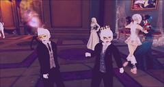 Og and I at Lady moldylocks Costume Ball (luxfero_cain) Tags: newbabbage secondlife 3d virtual cgi sim ladymoldylocks victorian steampunk vintage halloween costumeball scary creepy bek blackeyedchildren blackeyedkids party halloweencostume halloweenparty allhallowseve