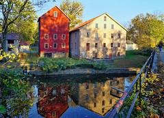The Prallsville Mills (biglannie) Tags: mill redmill stonemill historic colorful sceniclandscape architecture buildings reflectioninwater beautiful