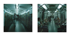 Subte (Gabriela Gleizer) Tags: south sud latin america buenos aires argentina capital federal underground subte public transportation neon urban city people analog film tlr mamiya c330 kodak portra 400 120 dyptich