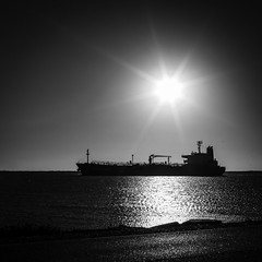 Texas City Dike - Mermaid Express (Mabry Campbell) Tags: explore explored flickrexplore 2016 galvestoncounty h5d50c hasselblad mabrycampbell november texas texascity texascitydike usa unitedstatesodamerica blackandwhite boat commercialphotography fineart fineartphotography image industry landscape photo photograph photographer photography seascape ship shipping silhouette sqaurecrop sun tanker water f71 november192016 20161119campbellb0000950 80mm sec 100 hc80 fav10 fav20 fav30 fav40 fav50 fav60 fav70 fav80 fav90 fav100 fav200