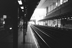 Tracks (redy1966) Tags: bw bnw monochrome analog analogue film street streetphotography streetfotografie wien vienna austria track tracks platform train nikon f3 f3t nikkoro 35mm