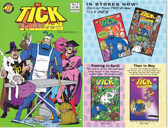 1999 THE TICK:  HEROES OF THE CITY NUMBER 2 (vsndesigns) Tags: the tick pencil indie shocker gbjr toys with tie and tshirt zombie in a steel box fox promotional totally kids magazine 45 club spoon taco bell meal commercial eli stone ben edlund little wooden boy comic book merchandise rare limited edition 80s 90s collector museum naked super hero heroine funny comedy tv color thetick indoor surreal cartoon coffee mug ceramic cup black blue text poster illustration collection sketch cover white necpress