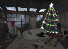 I hear something... is it the cats? (vixen.wottitz) Tags: secondlife slhome christmas christmastree penguin emperorpenguin catangel cat kittens