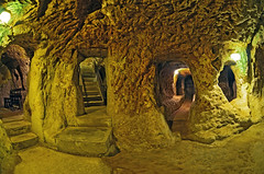 (marozn) Tags: turkey avanos cappadocia derinkuyu cave underground catacomb interior ancient stone cemetery geological travel archeology rocky civilization attraction history formation stalactite old tourist mineral heritage tourism hole geology town rock humid sightseeing moist city ruin inside subterranean sight antique cavern nevsehir village fisheye view light panorama